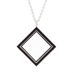 Picture of Silver Diamond Locket with Black Enamel